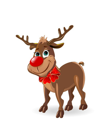 Deer Rudolph with a red bow. A deer on a white background.                                                                                                                                                                    Illustration