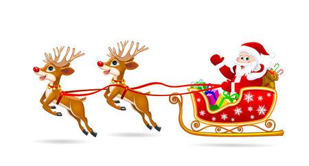 Santa Claus on his sleigh, harnessed by deer. Santa Claus with gifts on his sleigh.
