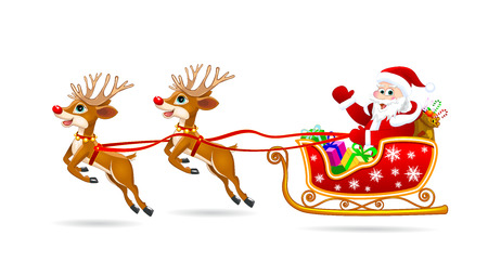 Santa Claus on his sleigh, harnessed by deer. Santa Claus with gifts on his sleigh.