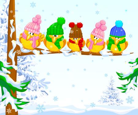 새 분기에 앉아입니다. 조류 니트 모자를 입은. 겨울에 만화 새입니다. 일러스트