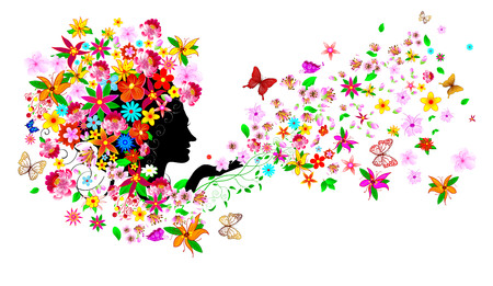 Silhouette of a womans face among flowers and butterflies. Girl with flowers and butterflies.A girl with flowers and butterflies on her head and in her hair.