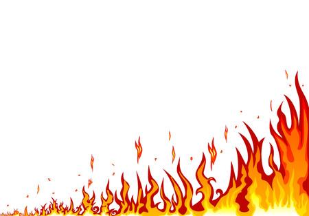 炎が燃えている。 白い背景に抽象的な火。抽象的な火の境界線