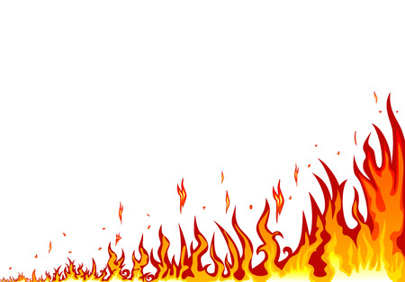 Flames burning fire.  Abstract fire on a white background. Border of abstract fire Stock Vector - 94138373