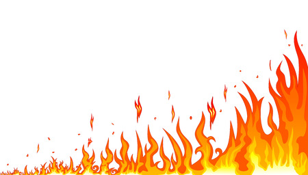 Flames burning fire. Abstract fire on a white background. Border of abstract fire