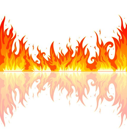 Flames burning fire. Abstract fire on a white background. Vectores