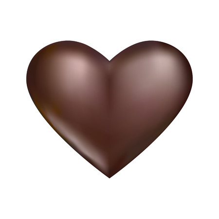 Heart of chocolate color on a white background.
