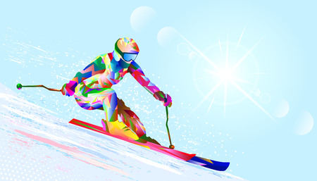 Silhouette of a skier from abstract multicolored geometric shapes against the sky. Sortsmen - skier against the sky and the sun.