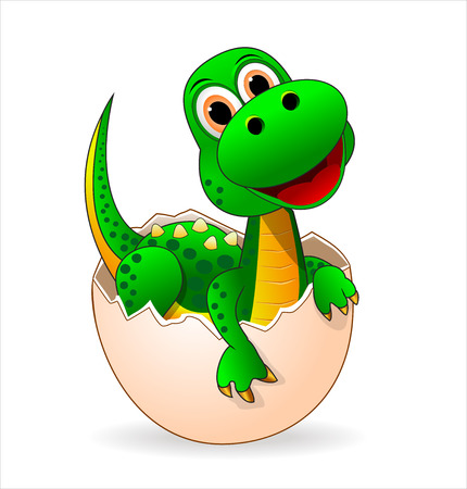 A Small green dinosaur who just hatched from the egg. 矢量图像