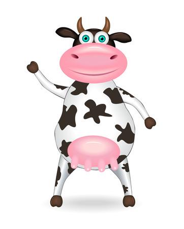 Cartoon spotty cow on a white background. Çizim