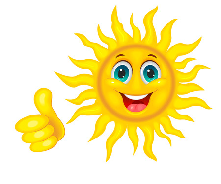 A cheerful cartoon sun on a white background. Smiling sun and hand with a finger raised up.