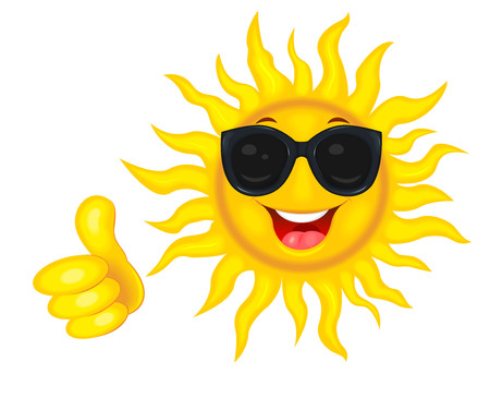 A merry cartoon sun in protective glasses from the sun. A cheerful cartoon sun on a white background. Smiling sun and hand with a finger raised up.                                                                                                                                                                                                                  Çizim