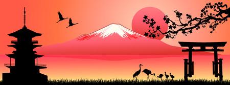 Silhouette Fuji mountain at sunset. Landscape, Mount Fuji. Mount Fuji on a pink background.  Illustration