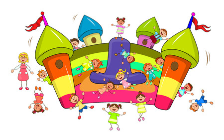 Happy children play and jump on the inflatable slide. Joyful little children and a teacher. Cartoon joyful children. Group of happy, smiling children.