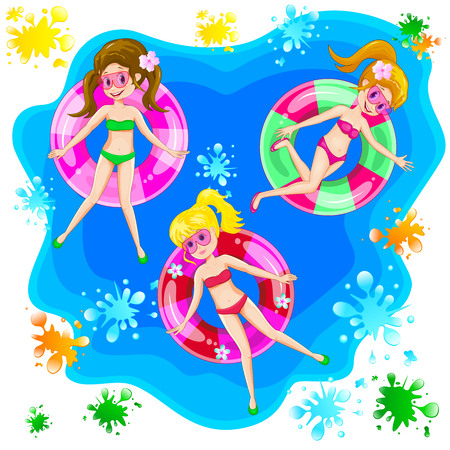 Little girls are swimming with an inflatable circle.
