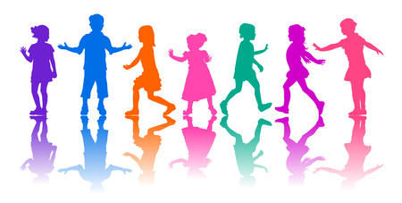 Colored silhouettes of children on a white background. Young children in motion. Children are active. Ilustração