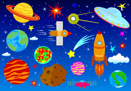 A set of astronomical elements against the background of the night starry sky. Space set. Elements on the space theme.