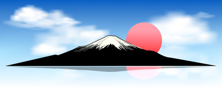 Silhouette of mount Fuji at dawn. Landscape, mount Fuji. Mount Fuji against a blue sky and white clouds.