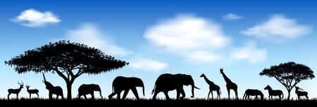 Silhouetten wilder Tiere der afrikanischen Savanne. Wilde afrikanische Tiere gegen den blauen Himmel. Vektorgrafik
