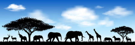 Silhouettes of wild animals of the African savannah. Wild African animals against the blue sky.
