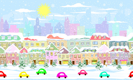 Winter city landscape, seamless. City street in winter. The houses are covered with snow. Snow on a city street. Snow-covered city. Illustration