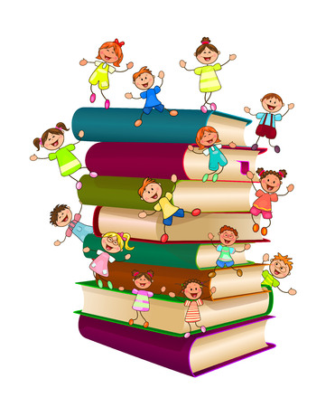 The children are on a stack of books. Children and books on a white background.
