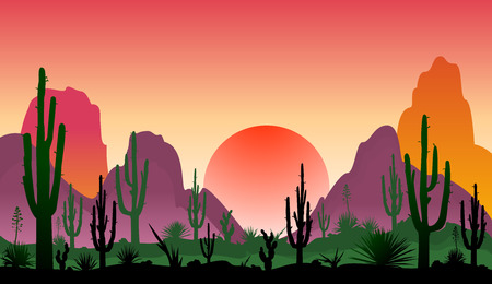 Sunset in a stony desert with cacti.  Silhouettes of stones, cacti and plants. Desert landscape with cacti. The stony desert. Illustration