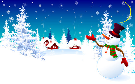 Cartoon snowman on a winter background. Snowman on the background of a winter forest and a snow-covered village.  イラスト・ベクター素材