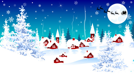 Snow-covered village. Night scene of winter rural landscape on Christmas Eve. Illustration