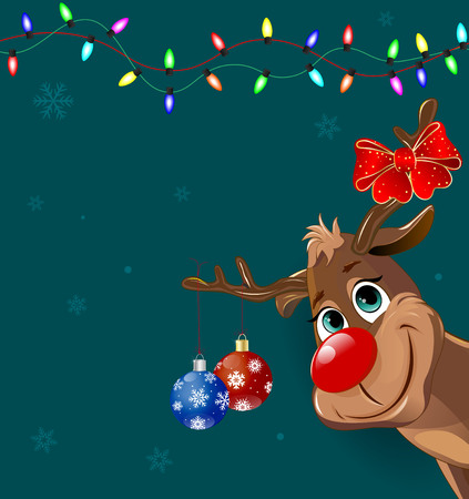 Cartoon deer decorated with Christmas fir-decorations and a bow-knot. Christmas greeting card.