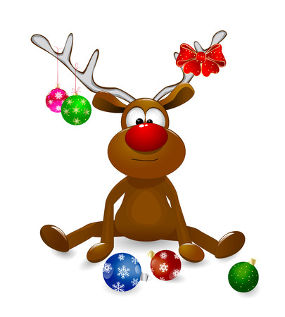 Cartoon deer decorated with Christmas fir-decorations and a bow-knot. Illustration