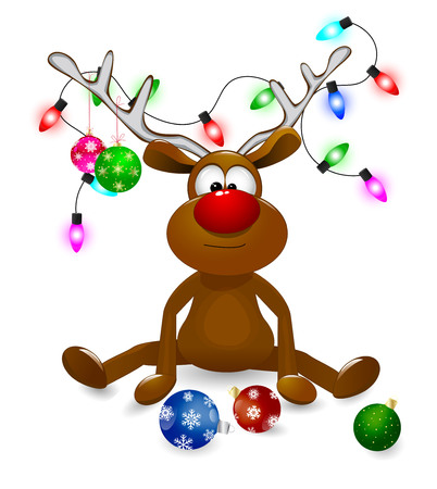 Cartoon deer decorated with Christmas fir-decorations and a bow-knot. A deer with a red nose on a white background. Illustration