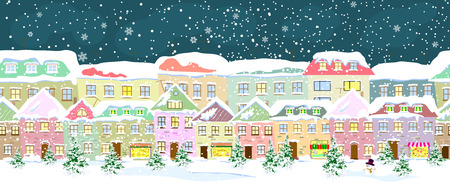 Winter city landscape, seamless. City street in winter. The houses are covered with snow. Snow on a city street. Snow-covered city.  イラスト・ベクター素材