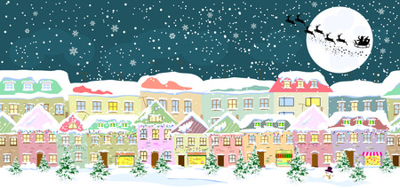 Winter city landscape, seamless. Santa Claus on his sleigh on the background of the moon.  City street in winter. The houses are covered with snow. Snow on a city street. Snow-covered city.