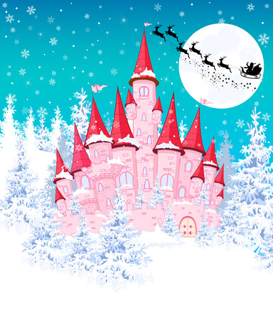 Cartoon pink castle on the background of winter snow-covered forest. Silhouette of Santa on a sleigh against the night sky and the moon.  Winter landscape with a pink castle.