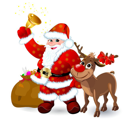 Santa Claus with gifts and a bell. Deer with a red nose.Cartoons Santa Claus  and a reindeer. Santa and deer on white background.