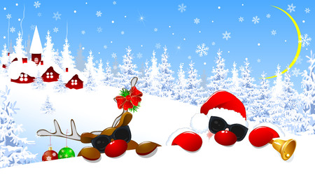 Santa Claus and reindeer in the glasses.The deer is decorated with Christmas balls and a red bow. Santa and deer on background village and winter forest. Santa and a deer with red noses.