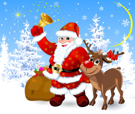 Santa Claus and deer in the winter forest. Merry Santa Claus and deer are happy on Christmas night.