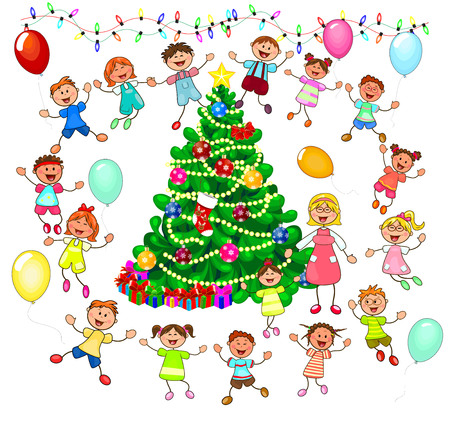Joyful little children and a teacher near the Christmas tree. Children near the Christmas tree celebrate Christmas. A group of children with a teacher. A group of cheerful, smiling children on a white background. Illustration