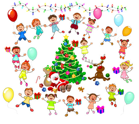 Joyful little children and Santa near the Christmas tree. Santa, deer and children celebrate Christmas. A group of children with gifts. A group of cheerful, smiling children on a white background.