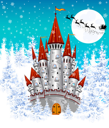 Cartoon  castle on the background of winter snow-covered forest. Silhouette of Santa on a sleigh against the night sky and the moon.  Winter landscape with a gray castle. Illustration
