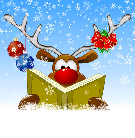Cartoon deer reads a book for Christmas. A deer with a book and with Christmas decorations on a winter background.
