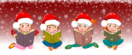 Little girls read books. Children with books on a red background. Children with books on winter background.