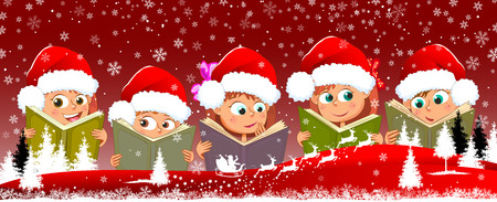 Children with books on a red background. Children read books on winter background.