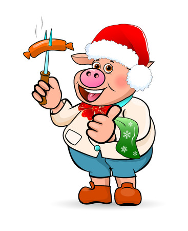 Cartoon pig in a hat Santa Claus holding a sausage barbecue in his hand. Illustration