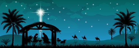 Scene of the Nativity of Jesus Christ. Christmas, the scene of Christmas. Christmas night. Stock Photo