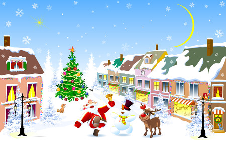 City street in the winter Christmas night. Santa, deer and snowman happily greet Christmas.  Christmas tree. Houses covered with snow. Winter night on Christmas Eve.