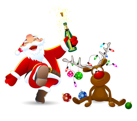 Santa Claus with a bottle in his hand. A deer decorated with Christmas balls, a garland of lights and a bow. Santa and deer on a white background. 일러스트