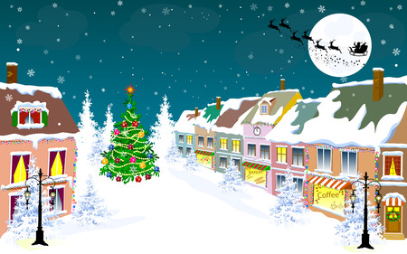Winter city landscape. Santa Claus on his sleigh on the background of the moon. City street in winter. The houses are covered with snow. Snow on a city street. Snow-covered city.