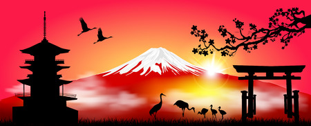 Silhouette Fuji mountain at sunrise. Fuji against the red sky and the rising sun. Landscape, Mount Fuji. Mount Fuji on a red background. Illustration