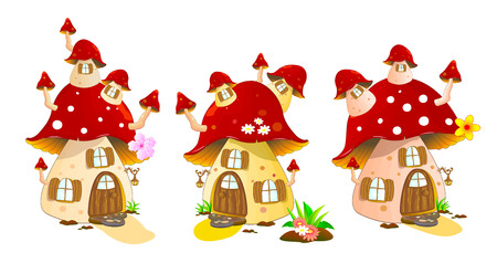 Cartoon mushrooms houses on a white background. Mushroom house red colors. 矢量图像